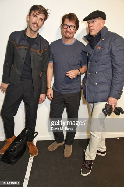 Teo Van Den Broeke Oliver Spencer and Dylan Jones pose backstage at the Oliver Spencer LFWM AW18 Catwalk Show at the BFC Show Space on January 6 2018...