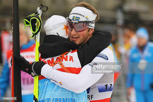 Teodor Peterson of Sweden celebrates winning the 6x 1,7 kilometer men's team sprint of the FIS Cross Country World Cup at the Dusseldorf city circuit...