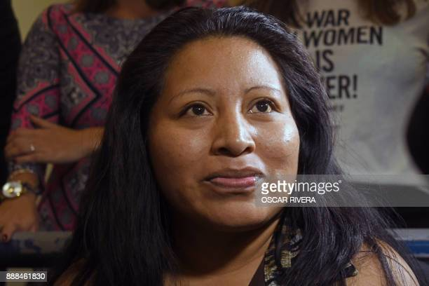 Teodora del Carmen Vasquez gestures at the Isidro Menendez Judicial Center during a hearing to review her 2008 sentence handed down under draconian...