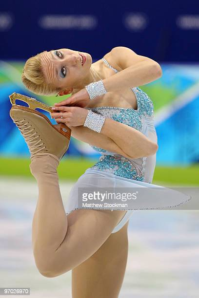 Teodora Postic of Slovenia competes in the Ladies Short Program Figure Skating on day 12 of the 2010 Vancouver Winter Olympics at Pacific Coliseum on...