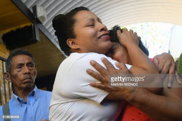 Teodora Vasquez hugs her mother shortly after being released from the women's Readaptation Center in Ilopango El Salvador on February 15 where she...