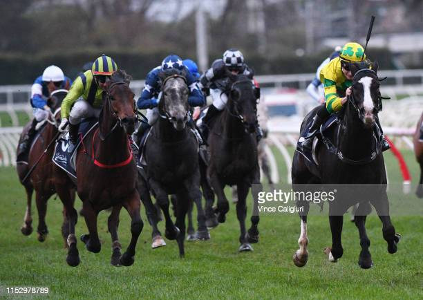 Teodore Nugent riding Pacodali winning Race 9 Catanach's Jewellers Handicap during Melbourne Racing at Caulfield Racecourse on June 01 2019 in...