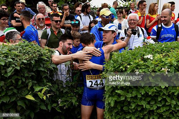 Teodorico Caporaso is celebrates after crossing the finish line in the the 50KM Race Walk at IAAF Race Walking Team Campionship Rome 2016 on May 7...