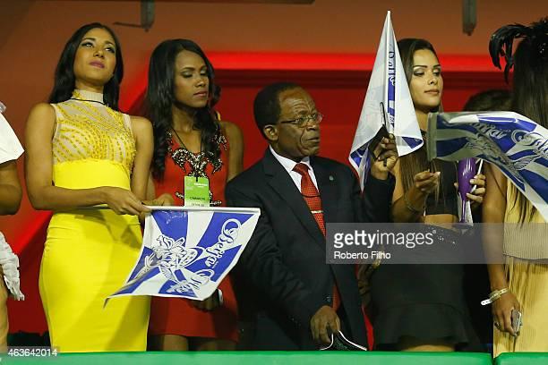 Teodoro Obiang Nguema Mbasogo attends the Carnival parade on the Sambodromo during Rio Carnival on February 16, 2015 in Rio de Janeiro, Brazil.
