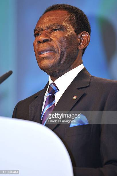 Teodoro Obiang Nguema Mbasogo, President of Equitorial Guinea and President of the African Union delivers a speech during the first Gateway To Africa...