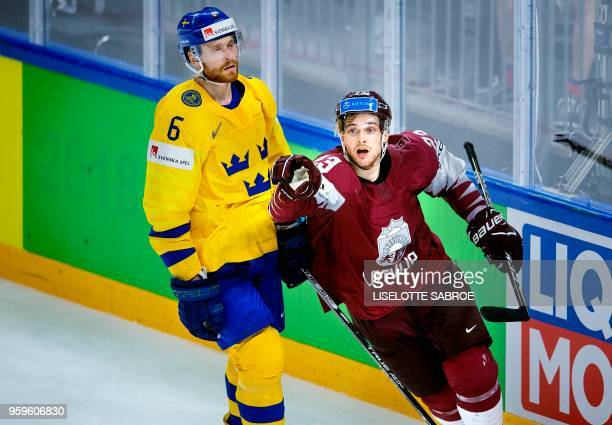 Teodors Blugers of Latvia celebrates after scoring during the quarterfinal match Sweden vs Latvia of the 2018 IIHF Ice Hockey World Championship at...