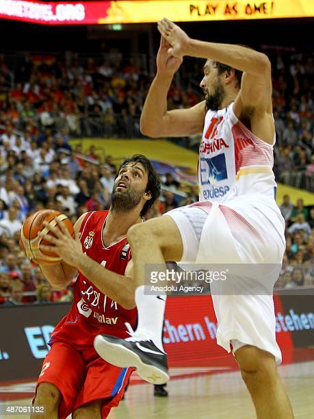 Teodosic of Serbia is in action during the EuroBasket 2015 group B match between Spain and Serbia at MercedesBenz Arena in Berlin Germany on...