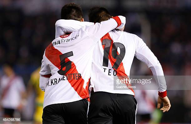 Teofilo Gutierrez and Matias Kranevitter of River Plate celebrate after scoring the third goal of his team during a match between River Plate and...