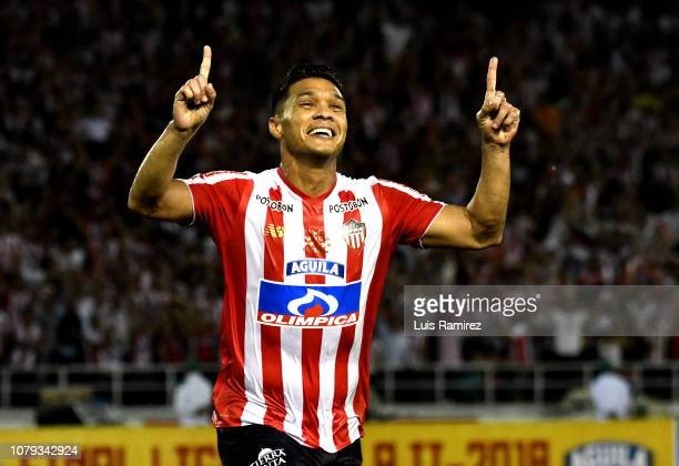 Teofilo Gutierrez of Atletico Junior, celebrates after scoring his team's third goal during the first leg final match between Junior and...
