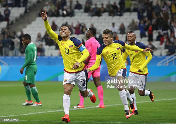 Teofilo Gutierrez of Colombia celebrates after scoring a goal during the Men's First Round Group B match between Colombia and Nigeria on Day 5 of the...