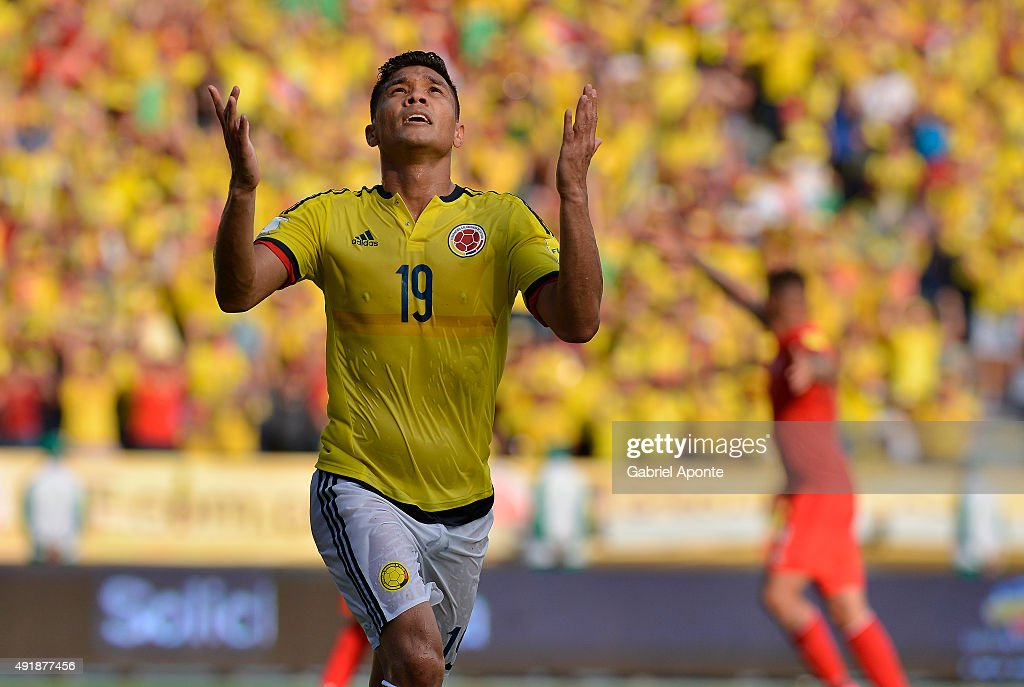 Teofilo Gutierrez of Colombia celebrates after scoring the opening goal during a match between Colombia and Peru as part of FIFA 2018 World Cup Qualifier at Metropolitano Roberto Melendez Stadium on October 08, 2015 in Barranquilla, Colombia.
