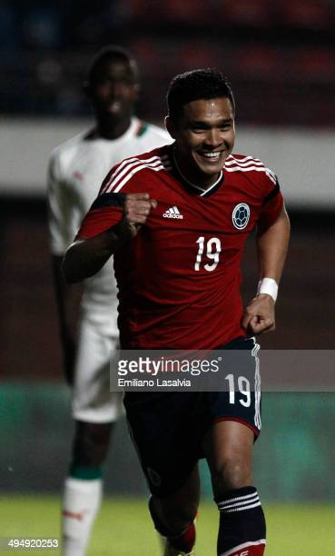 Teofilo Gutierrez of colombia celebrates the first goal of his team during the International Friendly match between Colombia and Senegal at Pedro...