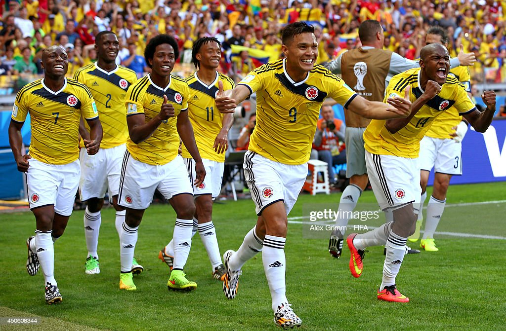 Teofilo Gutierrez of Colombia celebrates with team-mates after scoring the second goal during the 2014 FIFA World Cup Brazil Group C match between Colombia and Greece at Estadio Mineirao on June 14, 2014 in Belo Horizonte, Brazil.