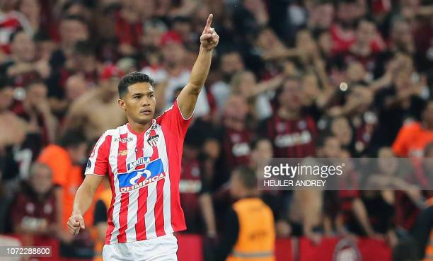 Teofilo Gutierrez of Colombias Junior celebrates after scoring against Brazil's Atletico Paranaense during the 2018 Copa Sudamericana second leg...
