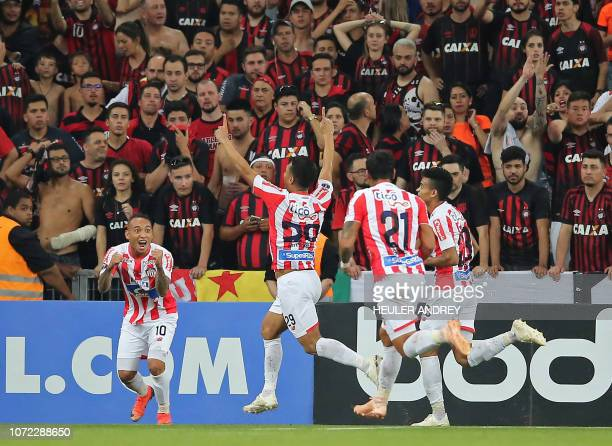 Teofilo Gutierrez of Colombias Junior celebrates after scoring against Brazil's Atletico Paranaense during the 2018 Copa Sudamericana second leg...