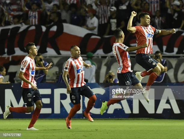 Teofilo Gutierrez of Junior celebrates after scoring the first goal of his team to Santa Fe during the semifinal second leg match between Junior and...