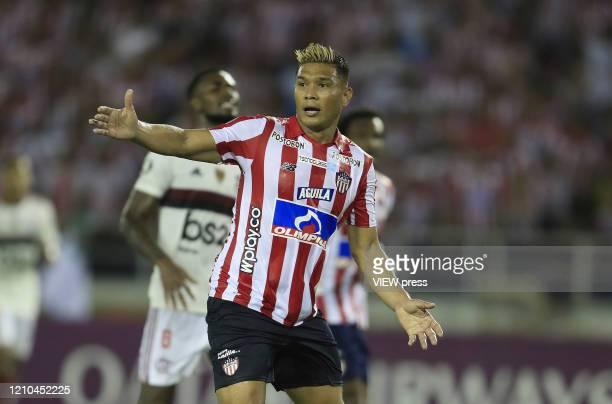 Teofilo Gutierrez of Junior reacts during a group A match of Copa CONMEBOL Libertadores between Junior and Flamengo at Estadio Metropolitano on March...