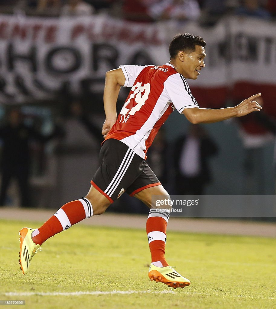 Teofilo Gutierrez of River Plate celebrates after scoring the opening goal during a match between River Plate and Velez Sarsfield as part of 15th round of Torneo Final 2014 at Monumental Antonio Vespucio Liberti Stadium on April 12, 2014 in Buenos Aires, Argentina.