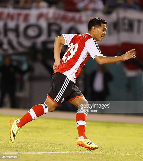 Teofilo Gutierrez of River Plate celebrates after scoring the opening goal during a match between River Plate and Velez Sarsfield as part of 15th...