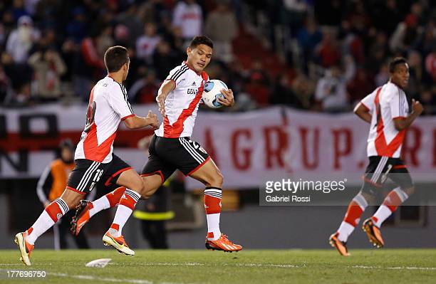 Teofilo Gutierrez of River Plate runs with the ball after celebrate a goal during a match between River Plate and Colon de Santa Fe as part of the...