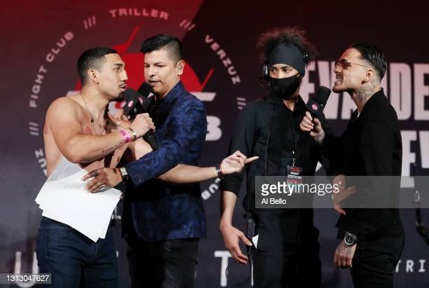 Teofimo Lopez and George Kambosos Jr. Face off during a press conference for Triller Fight Club at Mercedes-Benz Stadium on April 16, 2021 in...