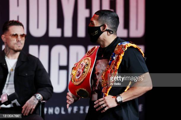 Teofimo Lopez and George Kambosos Jr. Look on during a press conference for Triller Fight Club at Mercedes-Benz Stadium on April 16, 2021 in Atlanta,...