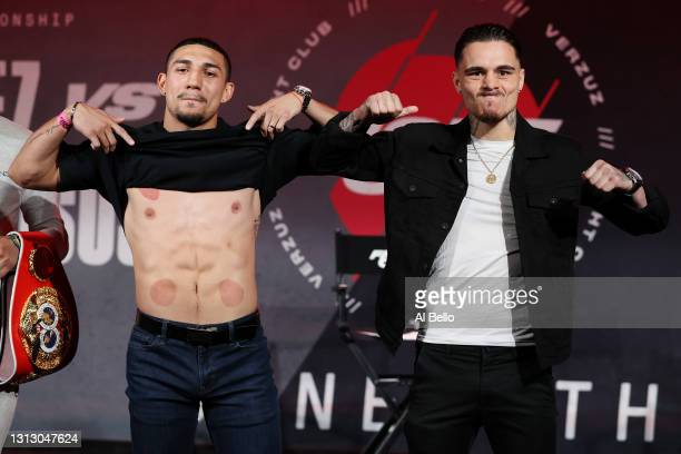 Teofimo Lopez and George Kambosos Jr. Pose during a press conference for Triller Fight Club at Mercedes-Benz Stadium on April 16, 2021 in Atlanta,...