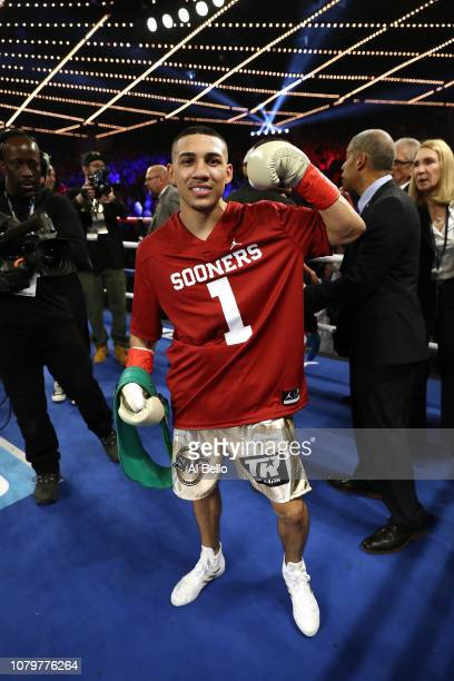 Teofimo Lopez celebrates after knocking out Mason Menard in the first round during their lightweight fight at The Hulu Theater at Madison Square...