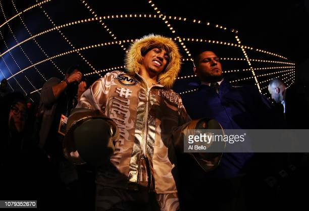 Teofimo Lopez enters the ring against Mason Menard during their lightweight fight at The Hulu Theater at Madison Square Garden on December 08 2018 in...