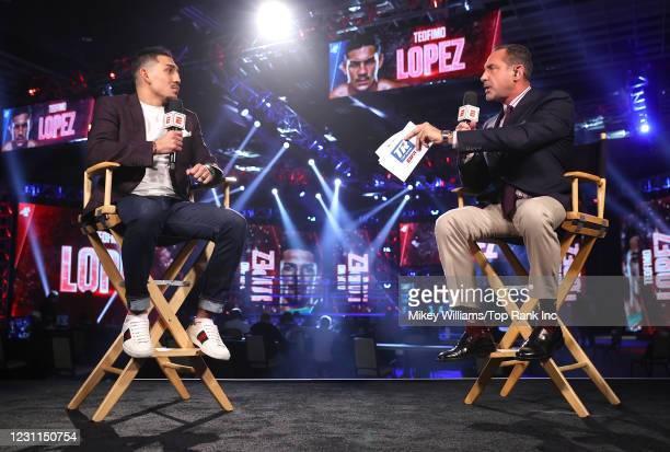 Teofimo Lopez is interviewed by Mark Kriegel ahead of the fight between Richard Commey and Jackson Marinez at the MGM Grand Conference Center on...