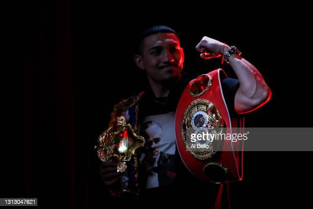 Teofimo Lopez poses during a press conference for Triller Fight Club at Mercedes-Benz Stadium on April 16, 2021 in Atlanta, Georgia ahead of his June...