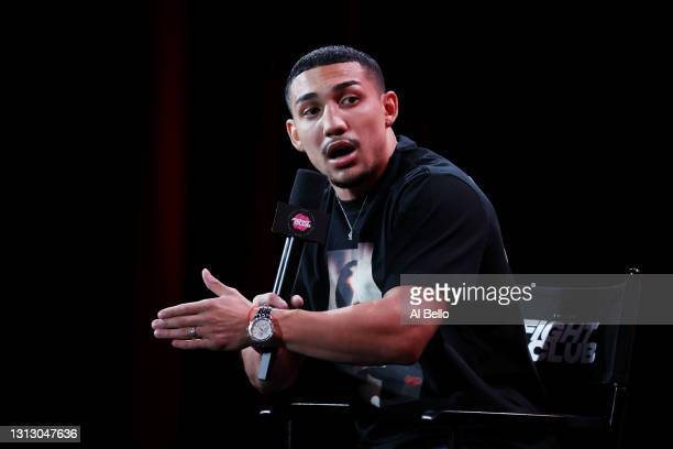 Teofimo Lopez speaks during a press conference for Triller Fight Club at Mercedes-Benz Stadium on April 16, 2021 in Atlanta, Georgia ahead of his...