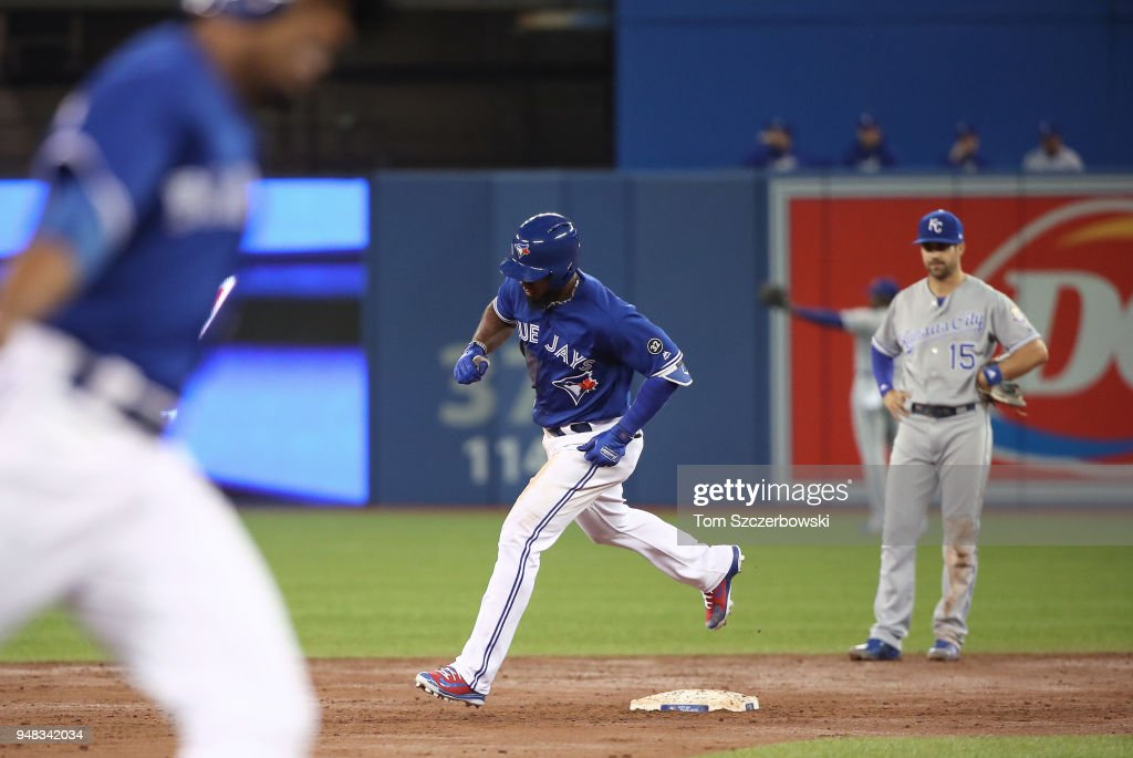 Teoscar Hernandez #37 of the Toronto Blue Jays circles the bases after hitting a two-run home run in the third inning during MLB game action against the Kansas City Royals at Rogers Centre on April 18, 2018 in Toronto, Canada.