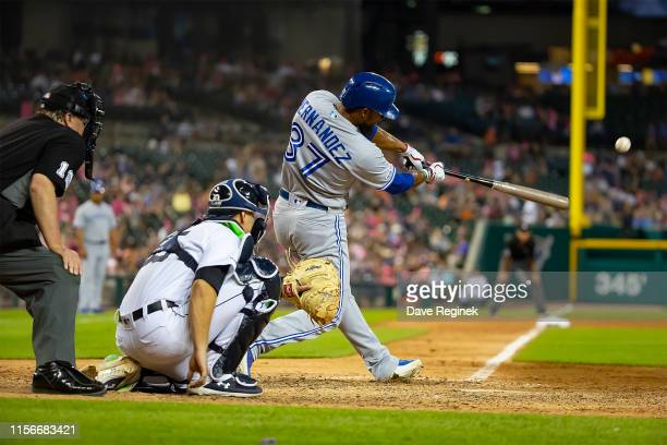 Teoscar Hernandez of the Toronto Blue Jays hits a sixth inning home run against the Detroit Tigers during a MLB game at Comerica Park on July 19 2019...