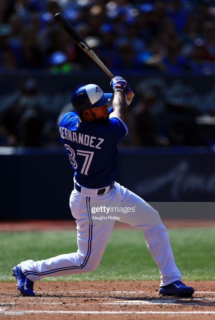 Teoscar Hernandez #37 of the Toronto Blue Jays hits his second home run of the game in the fifth inning during MLB game action against the Detroit Tigers at Rogers Centre on September 10, 2017 in Toronto, Canada.