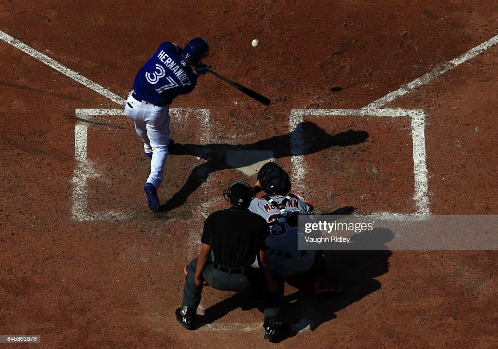 Teoscar Hernandez #37 of the Toronto Blue Jays hits hits a base hit in the seventh inning during MLB game action against the Detroit Tigers at Rogers Centre on September 10, 2017 in Toronto, Canada.