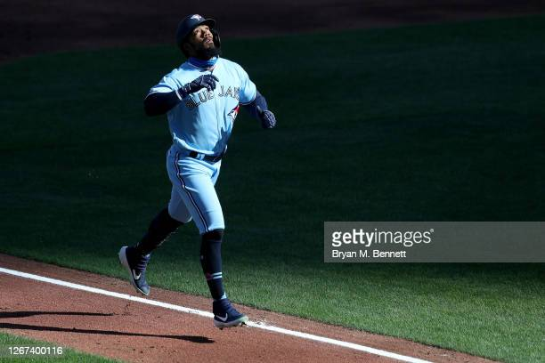 Teoscar Hernandez of the Toronto Blue Jays looks up after hitting a two run home run during the first inning of game two of a double header against...