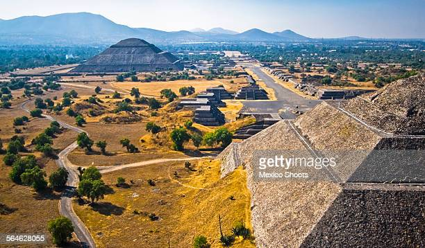 teotihuacan aerial - aztec civilization stock photos and pictures