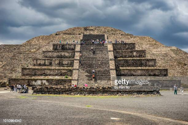teotihuacan's pyramid of the moon front view - ken ilio stock photos and pictures