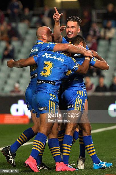 Tepai Moeroa of the Eels is tackled during the round 22 NRL match between the Parramatta Eels and the Manly Sea Eagles at Pirtek Stadium on August 5...