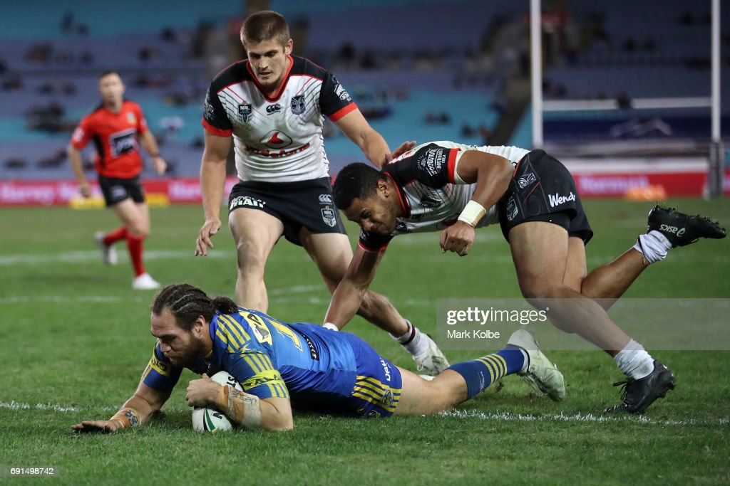 Tepai Moeroa of the Eels of the Eels dives over to score during the round 13 NRL match between the Parramatta Eels and the New Zealand Warriors at ANZ Stadium on June 2, 2017 in Sydney, Australia.