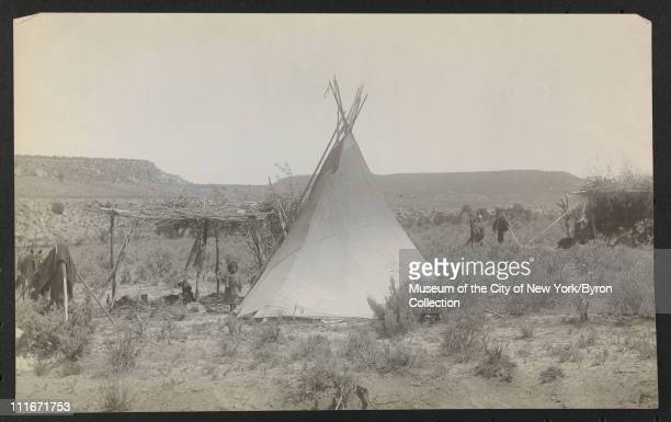 Tepee on a plain with stick structure child and dogs late 1890s or early 1900s