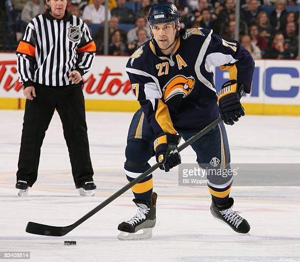 Teppo Numminen of the Buffalo Sabres skates against the Vancouver Canucks on October 17, 2008 at HSBC Arena in Buffalo, New York.