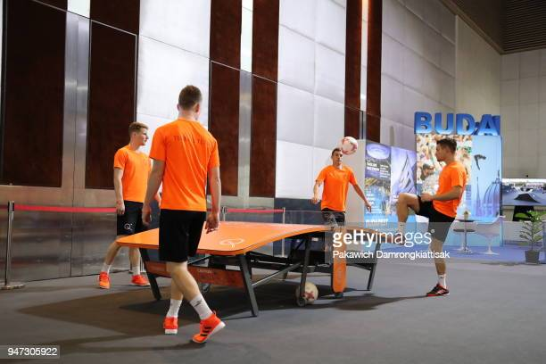 Teqball is demonstrated during day three of the SportAccord at Centara Grand Bangkok Convention Centre on April 17 2018 in Bangkok Thailand