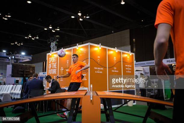 Teqball players perform during the third day of Sport Accord 2018 at the Centara Grand Bangkok Convention Centre in Bangkok Thailand on April 17 2018...