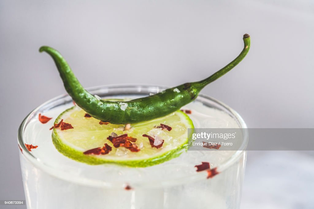 Tequila and Pineapple Margarita with Lime, Chili and Salt : Stock Photo