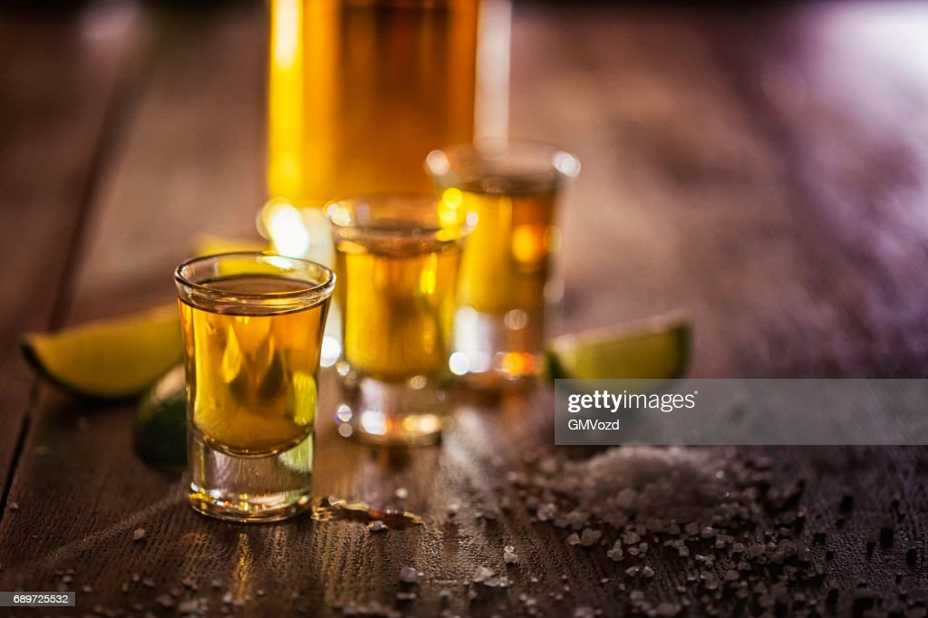 Tequila Shots with Salt and Lime : Stock Photo