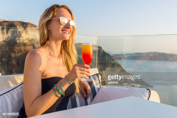 Tequila sunrise drink & beauty looking sunset