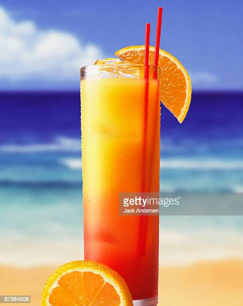 Tequila sunrise on beach