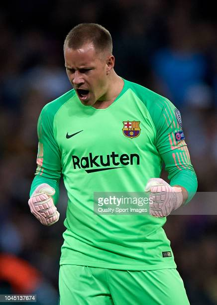 Ter Stegen goalkeeper of Barcelona celebrates his team first goal during the Group B match of the UEFA Champions League between Tottenham Hotspur and...